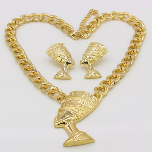 Adixyn Big Size Egyptian Queen Nefertiti Pendant Gold Color Thick Chain Earrings Jewelry Sets Africa Egypt Items 4