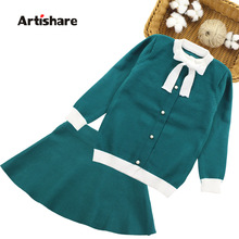 Winter Girls Sweater Clothing Set Kids Warm Knitwear Sweater & Skirt 2 Pieces Dress Suit Teenage Kids Overall Winter Girls