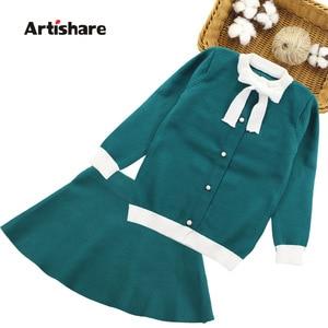 Image 1 - Winter Girls Sweater Clothing Set Kids Warm Knitwear Sweater & Skirt 2 Pieces Dress Suit Teenage Kids Overall Winter Girls