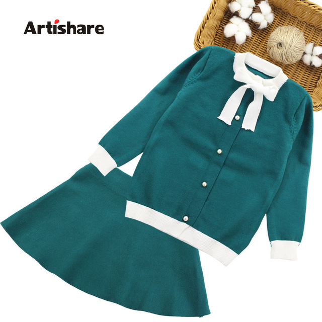 Winter Girls Sweater Clothing Set Kids Warm Knitwear Sweater & Skirt 2 Pieces Dress Suit Teenage Kids Overall Winter Girls
