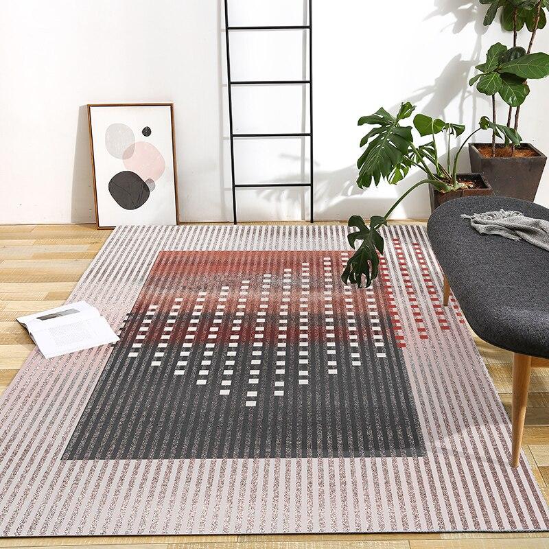 Couleur rose post-moderne bureau chambre décoration tapis style nordique grande taille chevet tapis, INS géométrique salon tapis - 2