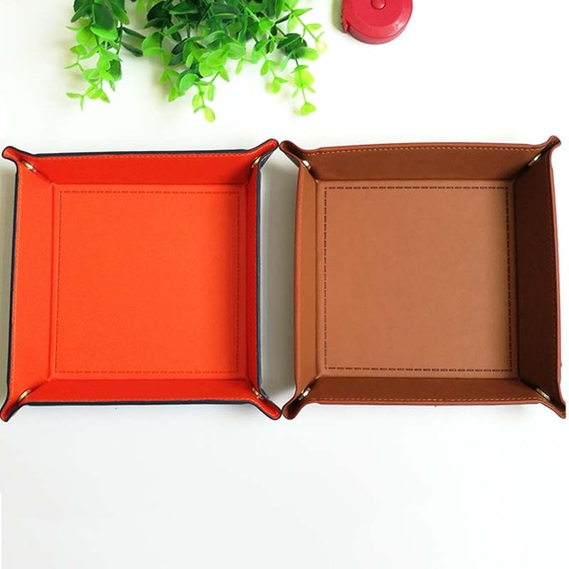 Folding Solid Color PU Leather Tray