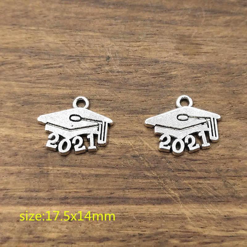 20 adet Yıl 2021 Takılar, 2021 mezuniyet cap Charms Tibet Gümüş Kaplama Kolye Antik Takı Yapımı DIY El Yapımı Zanaat