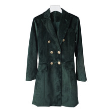 New Behind the European style suit collar zip velvet long suit coat blouse