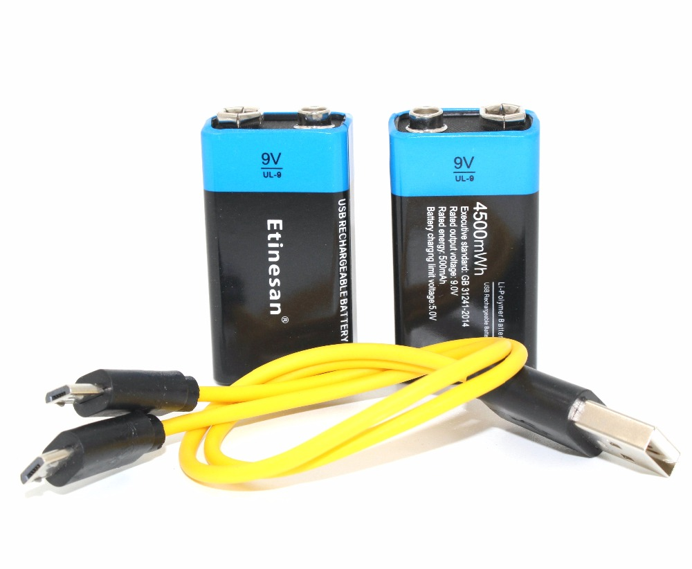 2PCS Etinesan 9V 4500mWh lithium ion li polymer rechargeable batteries USB charging cable set