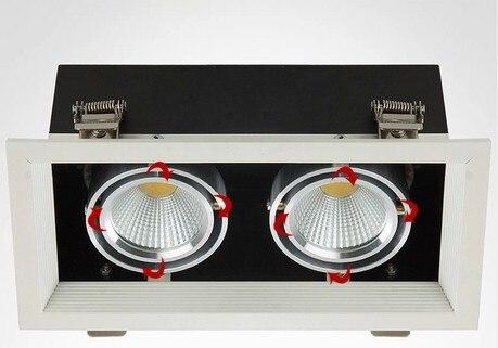 6 pcs/lot LED cob vers le bas lumière 20 w LED pot de haricot lampe double curseur 20 w LED lampe de grille lampe AC 85-265 V