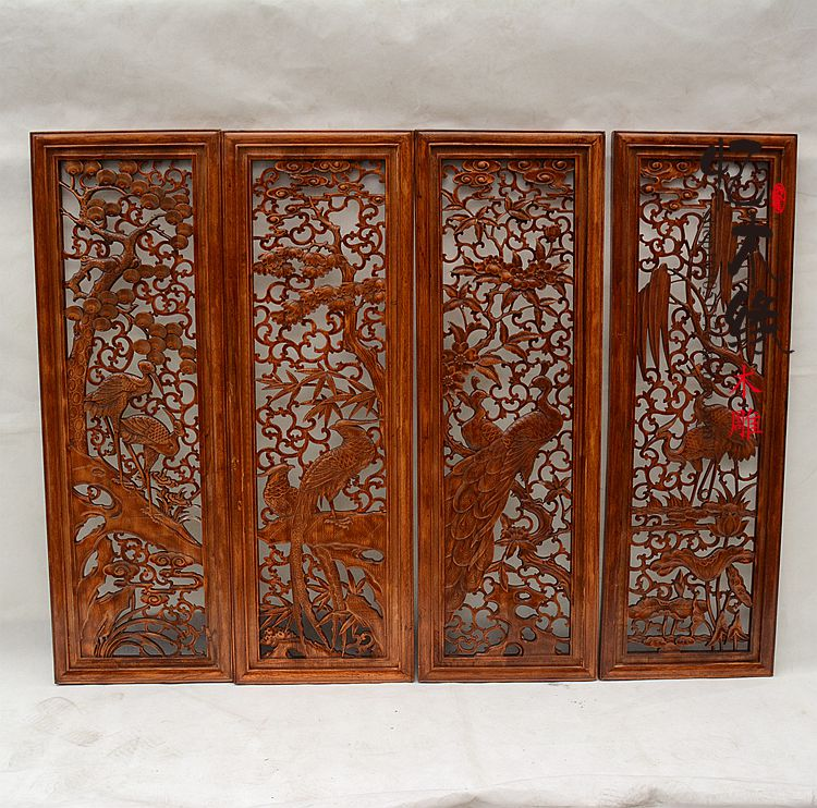Dongyang wood carving Pendant camphor wood screen partition porch Feng Shui four sets of pine willow wood portrait david sun the spirit of feng shui
