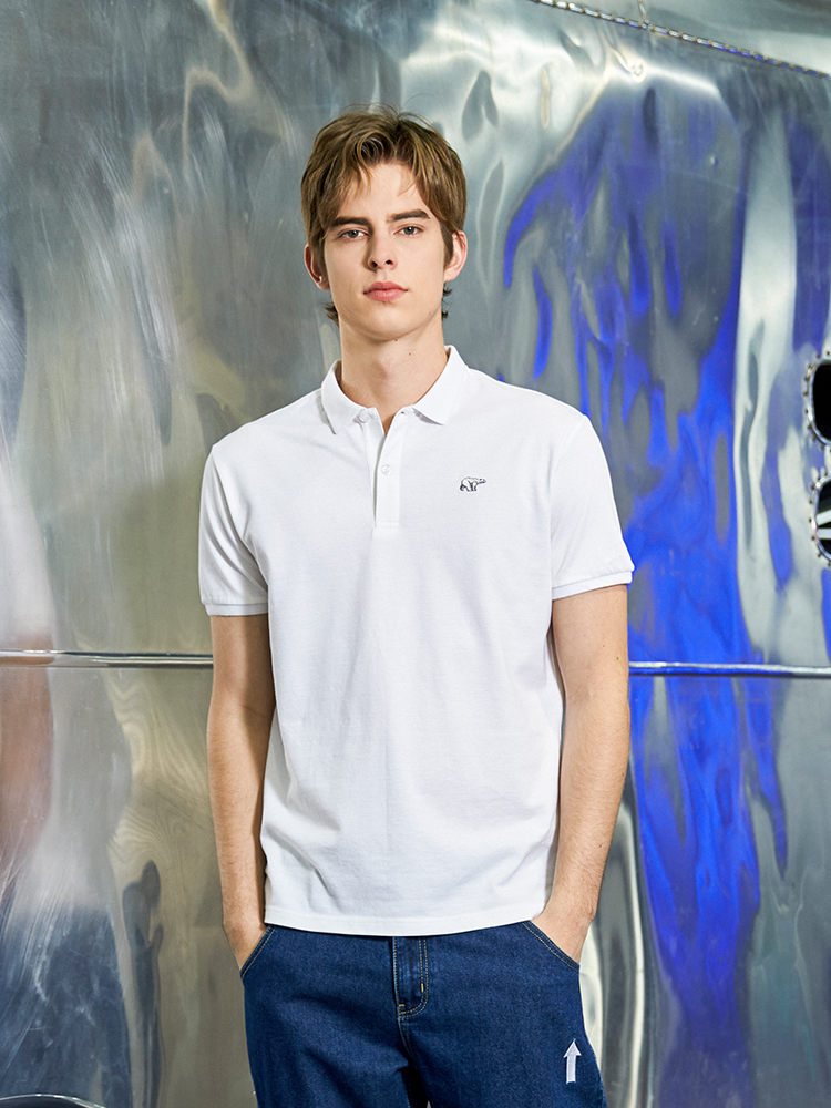 Pioneer Camp 2019 Mens Polo Shirt Brands Male Short Sleeve Casual Top Polo Solid Color Bear Embroidery Pink Polo shirt ADP901187