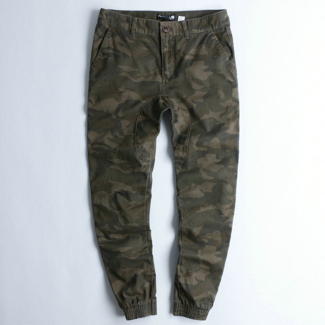 2017 Mens Deep Green Camouflage Stereo Jogger Denim Famous brand Collection Mens  New Pants