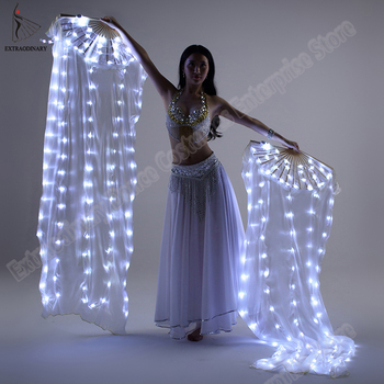New Belly Dance Silk Fan Veil LED Fans Light up Shiny Pleated Carnival LED Fans Stage Performance Props Accessories Costume