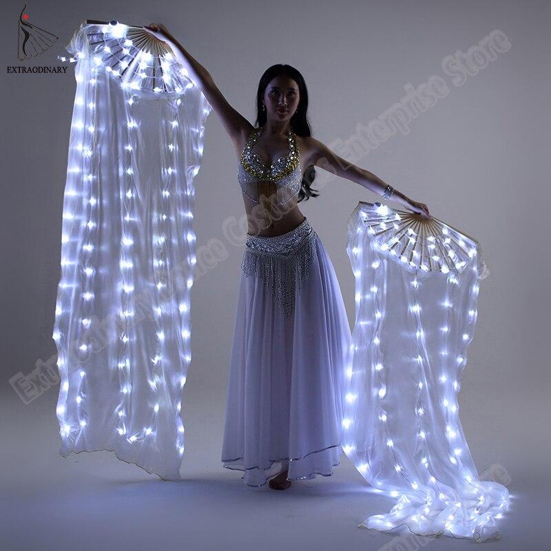 Novo véu ventilador de seda dança do ventre fãs led acender brilhante plissado carnaval fãs led palco desempenho adereços acessórios traje