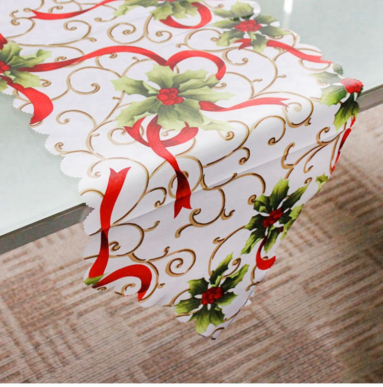 QIFU Christmas Table Runner Embroidered Table Runner Decoration Dining Table Runner Whrite Red Modern Polyester Satin Christmas