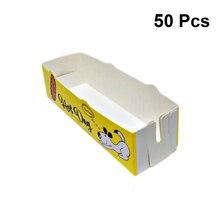 50 шт Одноразовый бумажный поднос для еды, складная коробка для закусок с покрытием, симпатичная коробка для приготовления хот-догов, фри, курицы, для закусок, бара