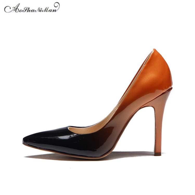 2018 spring new Wedding Shoes high heels pointed toe stilettos black orange patent leather shoes for women elegant party pumps ladies red shoes 2018 spring patent cross straps gladiator pointed toe sandals women high heels party wedding pumps shoes 43