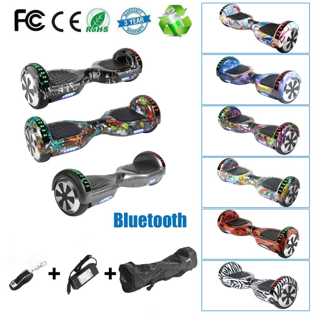 6 5 Hoverboard 2 Wheel Electric Scooter Bluetooth Speaker LED Self Balancing Electric Skate Board With