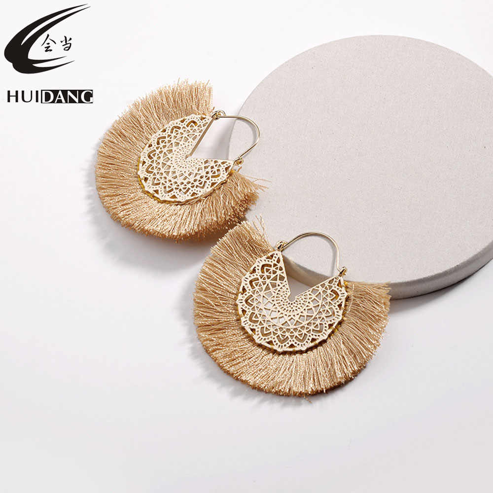 HUIDANG 2018 Fashion Flower Hollow Metal Fringed Tassel Statement Earrings for Women