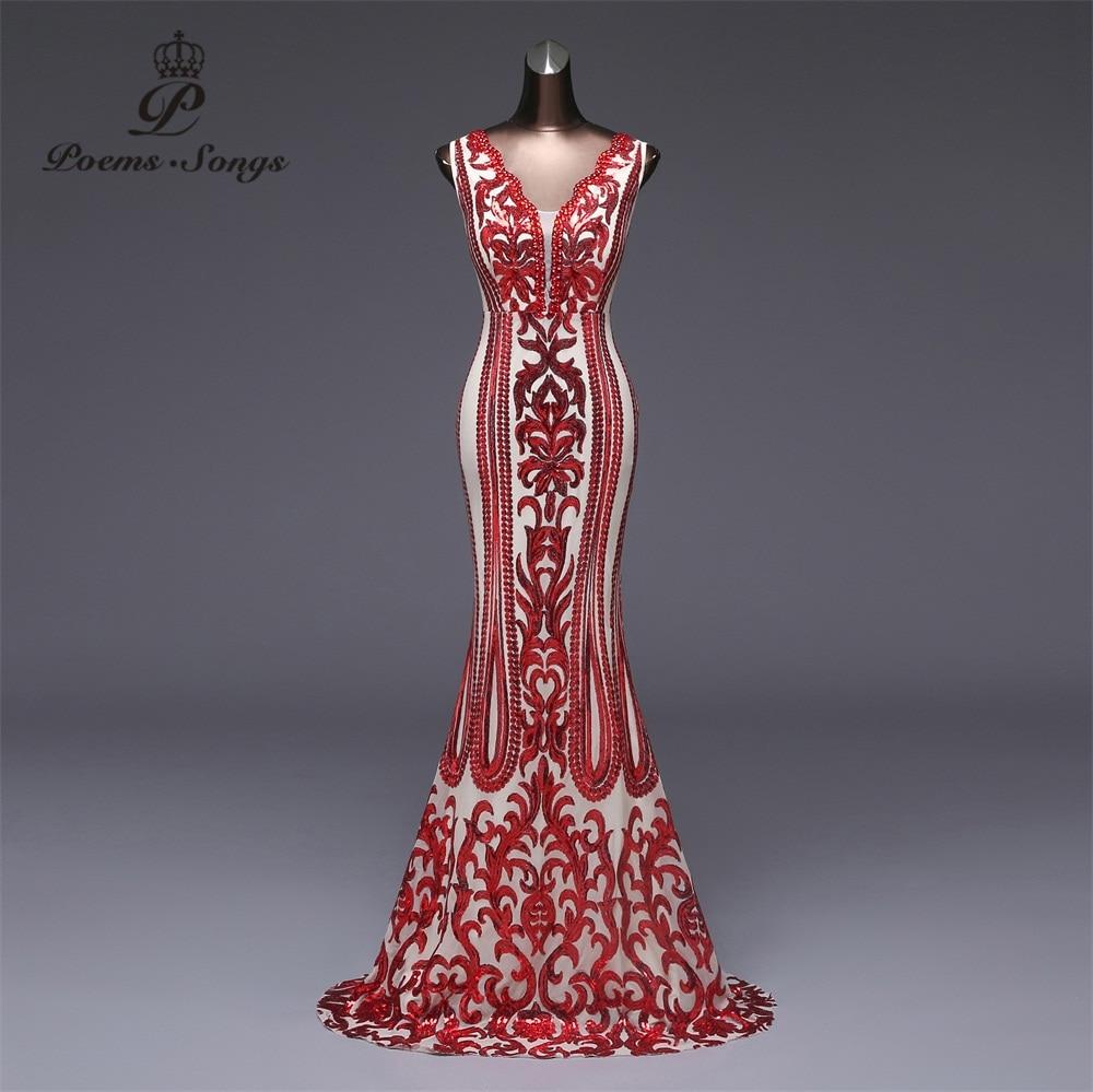 Poems Songs 2019 Formal party dress long Evening Dress vestido de festa Luxury Red Sequin robe