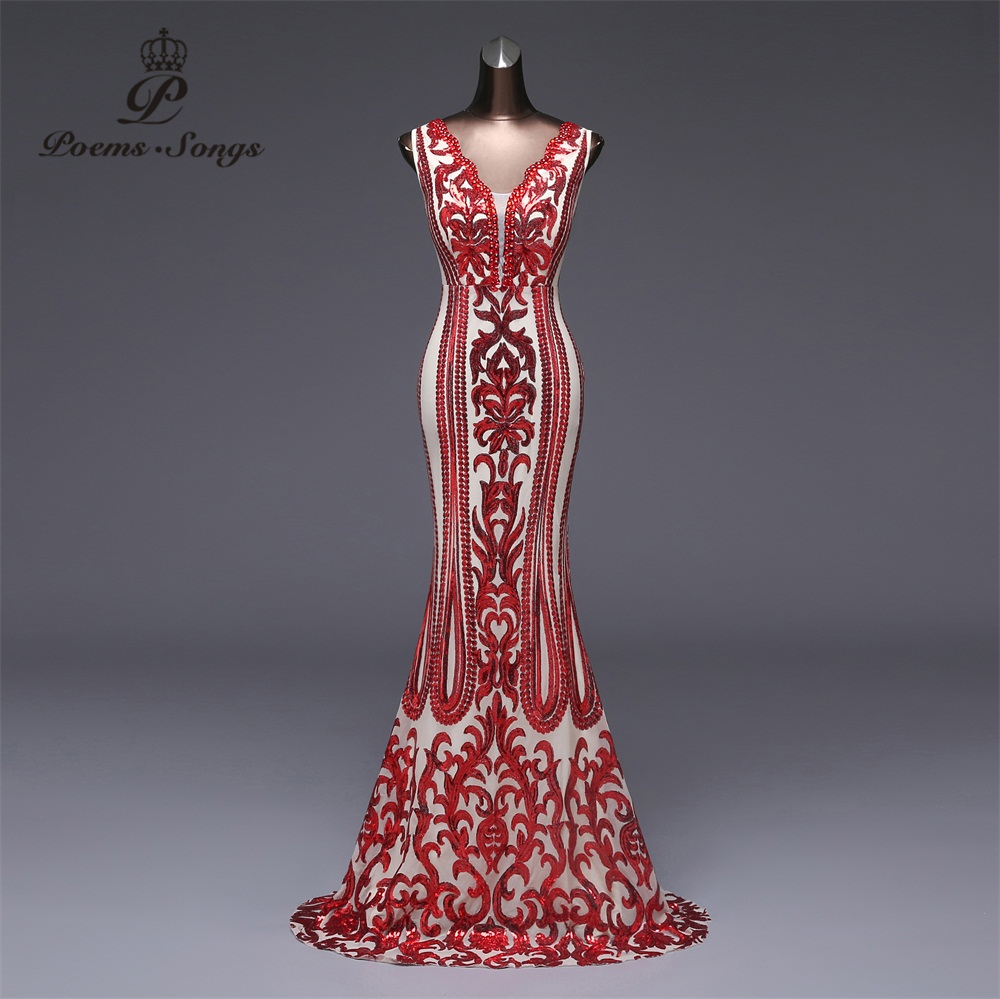 Poems Songs 2019 Formal Party Dress Long Evening Dress Vestido De Festa Luxury Red Sequin Robe Longue Prom Gowns