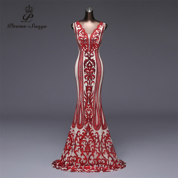 Poems Songs  Formal party dress long Evening Dress vestido de festa Luxury Red Sequin robe longue prom gowns - discount item  63% OFF Special Occasion Dresses