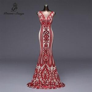 Image 1 - Şiirleri şarkıları örgün parti elbise uzun akşam elbise vestido de festa lüks kırmızı pullu robe longue balo abiye