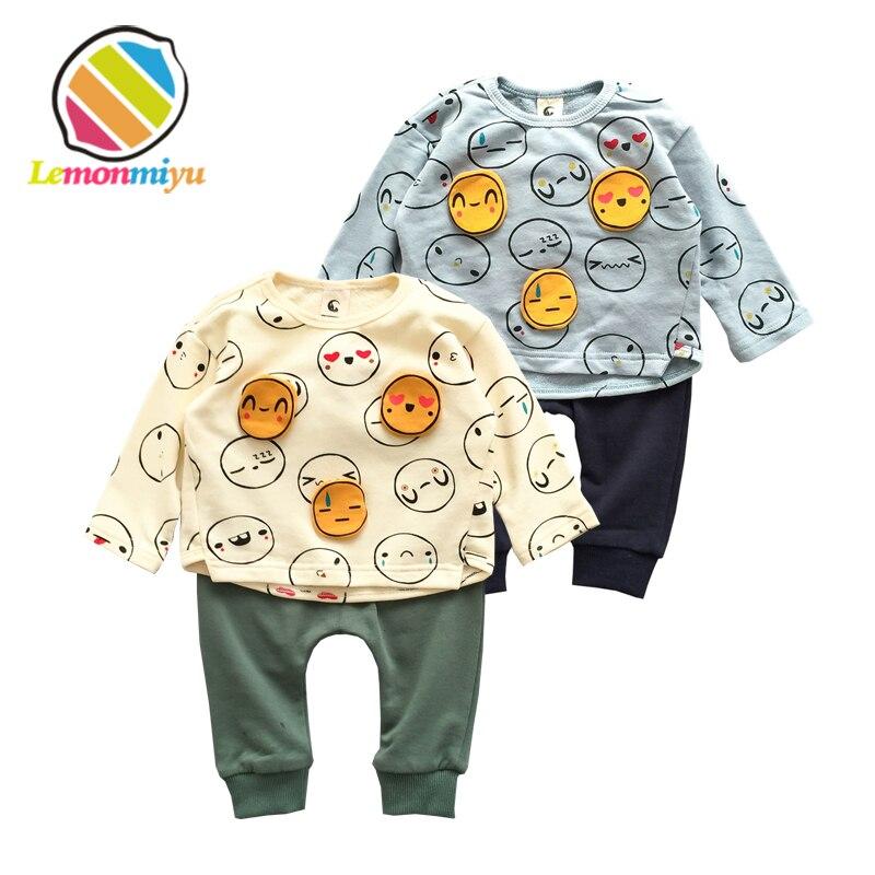 Lemonmiyu 2pcs Cotton Baby Sets Infants Patch Full Print Suits Sweatshirts And Long Pants Cartoon Sets Newborns Spring Outfits
