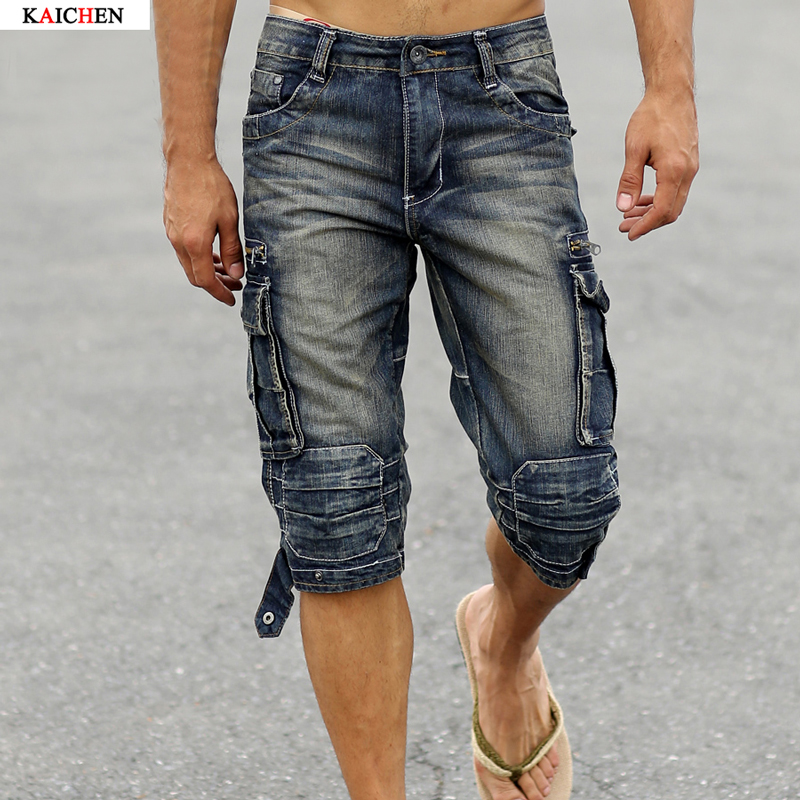 ФОТО 2016 New Mens Summer Retro Cargo Denim Shorts Faded Multi-Pockets Vintage Jeans Shorts Military Style Biker Short Jeans For Men