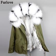 Мех животных любовь мода Женская натуральный кроличий мех внутри на куртка с капюшоном мини парки воротник из меха енота Зимняя куртка; верхняя одежда