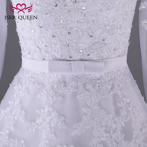 Image 5 - ลูกปัดลูกไม้ Appliques Organza งานแต่งงานชุด SHEER คอภาพลวงตามุสลิมสายชุดแขนยาว Sashes โบว์ w0009