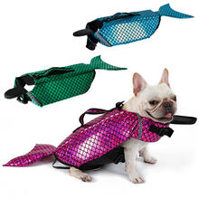 Dog Life Vest Summer Fish Shape Pet Life Jacket Dog Safety Clothes Dogs Pets Safety Swimming Suit Mermaid Sea-Maid Pet Costume(China)