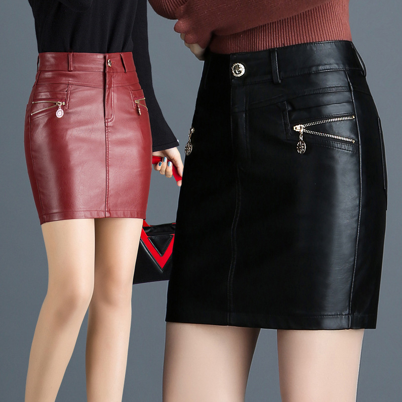 Plus Size <font><b>4XL</b></font> 6XL Autumn Women Skirts Imitation <font><b>Leather</b></font> Skirt Winter Female <font><b>Sexy</b></font> Skirt Black Red Fashion Casual Skirts Womens 26 image