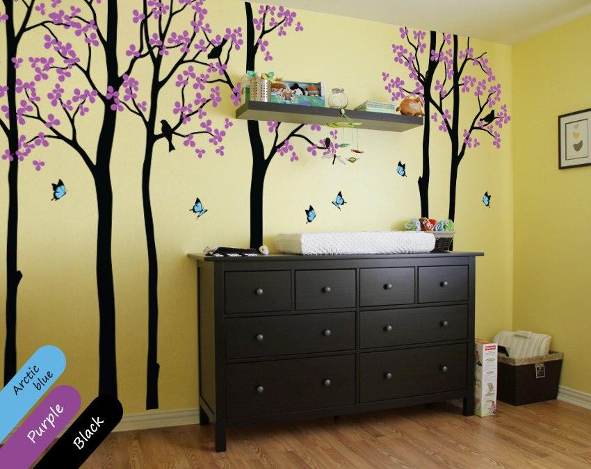 나비 나무 아기 벽 전사 술 아이 방에 대 한 큰 나무 숲 벽 스티커 보육 벽 장식 3d 포스터 diy 벽 문신 jw227-에서벽걸이 스티커부터 홈 & 가든 의  그룹 1