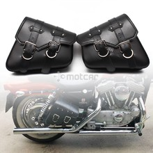 Motorcycle PU Leather Saddle Bags Luggage Black Left+Right Side Tool Bag For Honda Yamaha Harley Sportster XL 883 XL1200 Softail bjmoto brown motorcycle pu leather left right side saddlebag saddle bag luggage bag tool bags storage for harley sportster