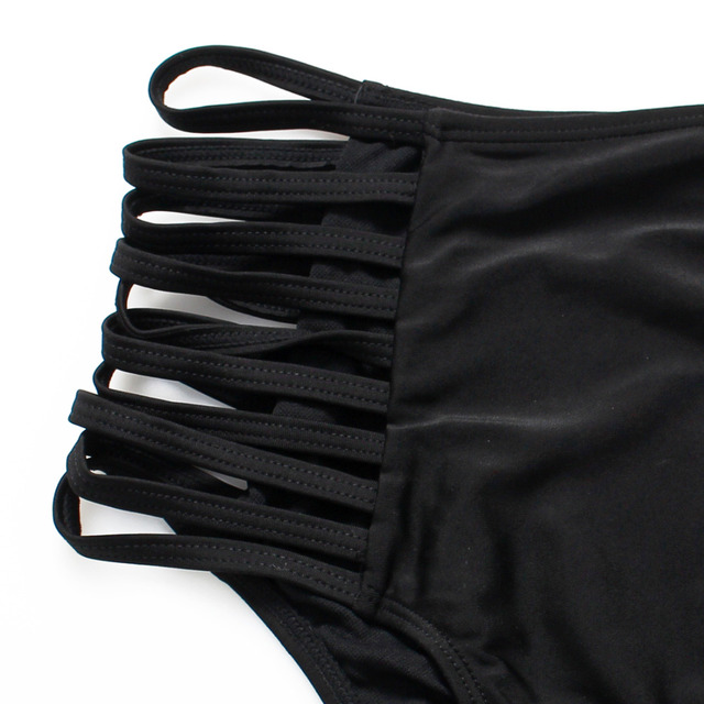 Black high waist swimsuit Sexy halter string strappy bikini 2017 swimwear women Bandage bathing suit bather maillot de bain