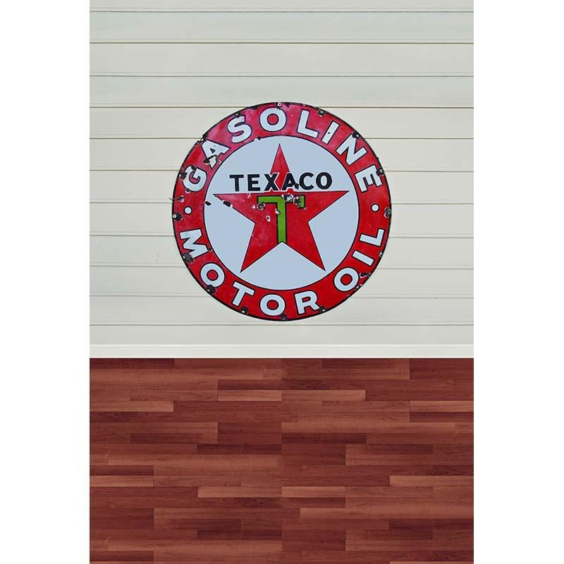 US $10 32 20% OFF|TR 8x8FT Indoor Light Beige Wooden Wall Texaco Gasoline  Motor Oil Logo Custom Photo Backdrops Studio Backgrounds Vinyl 2 5x2 5m-in