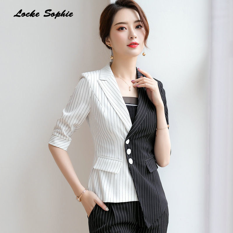 1pcs Women's Blazers Coats 2019 Summer Cotton Splicing Irregular Stripe Small Suits Jackets Ladies Skinny Blazers Suits Coats