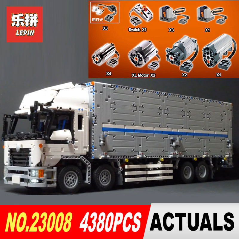 LEPIN 23008 technic series 4380pcs MOC truck Model Building blocks Bricks kits Compatible of children Holiday gifts 1389 23008 4380pcs technical series the moc wing body truck set compatible with 1389 educational building blocks children toys