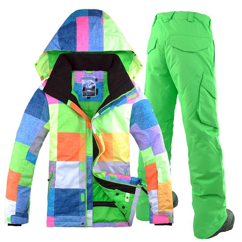 Бесплатная доставка GSOU SNOW Brand лыжный костюм Для мужчин лыжная куртка брюки зима Mountain Лыжный Спорт костюм Водонепроницаемый сноуборд устана... - 3
