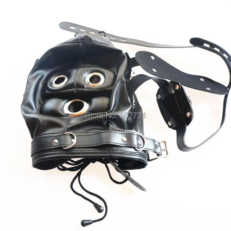Jeux pour adultes Fun tête capot tête masque avec amovible masque pour les yeux lunettes et deux bouche morsure pénis Gag jouet