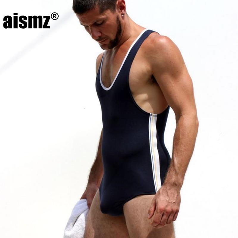 Aismz Sexy degli uomini di Fitness Bodybuilding Bodywear Nero Grigio Rosso Tuta Singoletto Gay Corpo Sottile Biancheria Intima Dello Shaper Shapewear Estate