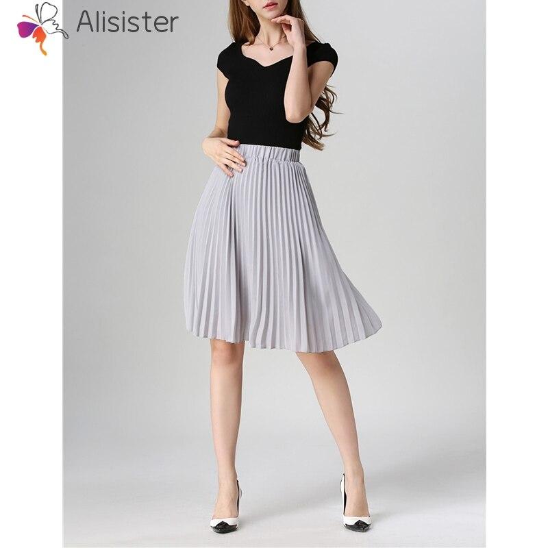 Summer Brief Women Chiffon Pleated Skirt Elegant Solid High Waist Versatile Midi Skirt Female Casual Office Street Wear
