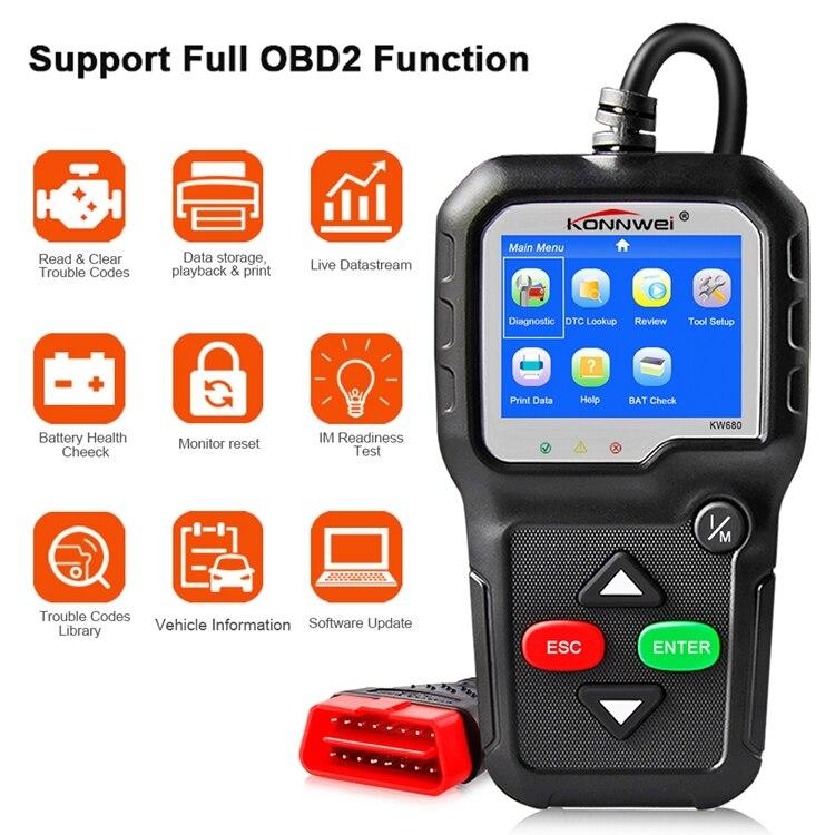 Scanner OBD2 Diagnostic automatique de voiture OBD outil de Diagnostic automatique KONNWEI KW680 lire les Codes d'erreur de défaut clairs Scanner automobile russe OBD2