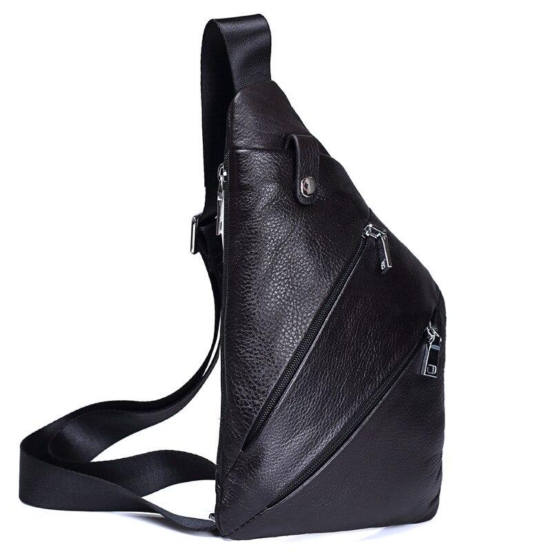 FSINNLV New Genuine Leather Chest Bags Men Messenger Crossbody Bags High Quality Male Single Shoulder Strap Bags Sling Bag HB219 цена