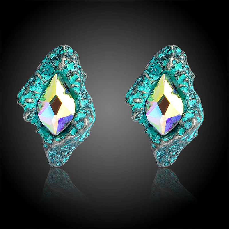 New Womens Fashion Earrings Shinning Elegant Lovely Black/Green Glass Black Resin Sweet Metal with Gems Ear For Women banquet