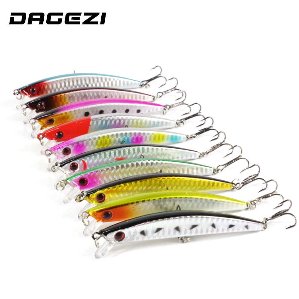 DAGEZI 10pcs wobbler fishing lure fish bait crankbait minnow bass carp Fishing Lures Artificial Hard Fishing Bait  pesca lushazer fishing lure minnow bait 18g hard lures carp fishing iscas artificiais 2016 wobbler crankbait cheap sea fishing tackle
