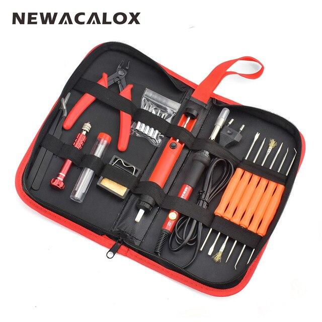 Newacalox ЕС 220 В 60 Вт терморегулятор Электрический паяльник Комплект отвертка оловоотсоса Совет провода, плоскогубцы сварочные инструменты сумка