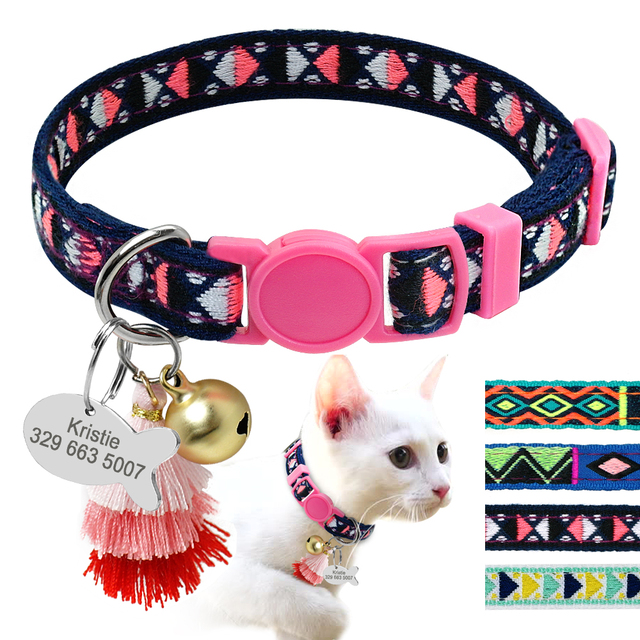 Personalized Cat Collar With Bell And Number Tag  1