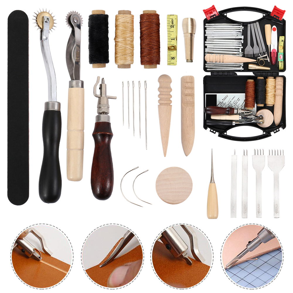 Professional Leather Craft Tools Kit Hand Sewing Stitching Punch Carving Work Saddle Leathercraft Accessories