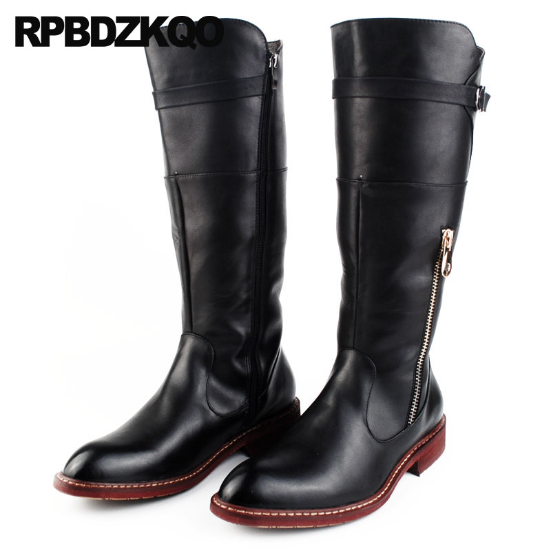 20036a8da81 Mens Knee High Leather Boots Zipper Red Black Vintage Waterproof Pointed  Toe Metalic Tall Shoes Fall Chunky Motorcycle Riding