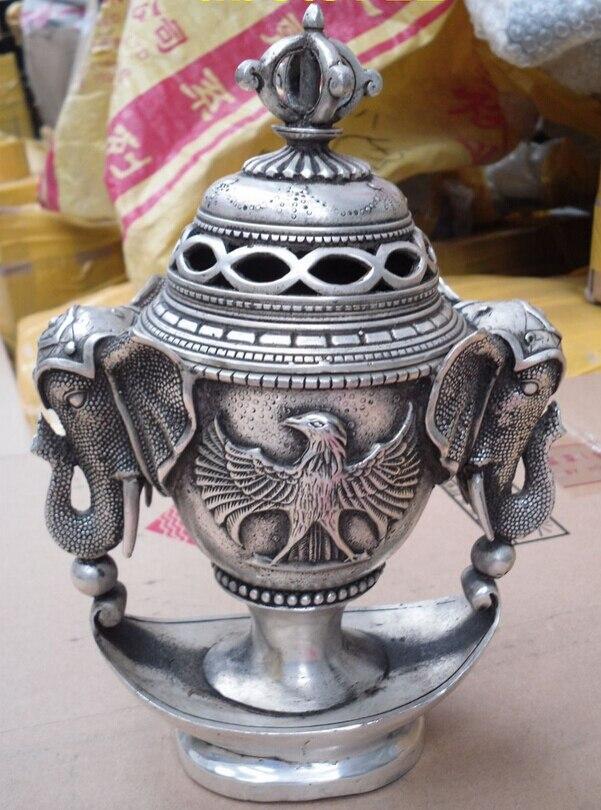 shitou 001171 Buddhist bronze coated silver tibetan all phoenix elephant statue censer burner