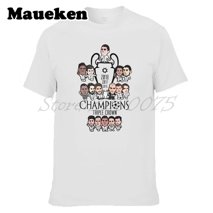 Men 2018 Cartoon Crossword Triple Crown Ronaldo Bale Real final 13 champions hala  Kroos Modric Zidane T-shirt W18052698
